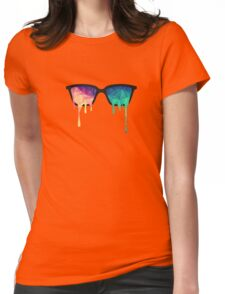 Psychedelic Nerd Glasses with Melting LSD/Trippy Color Triangles Womens Fitted T-Shirt