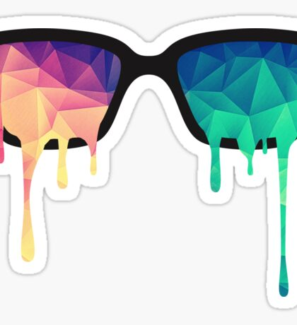 Psychedelic Nerd Glasses with Melting LSD/Trippy Color Triangles Sticker