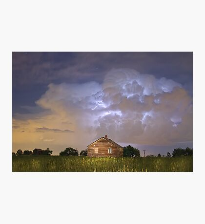Rural Country Cabin Lightning Storm Photographic Print