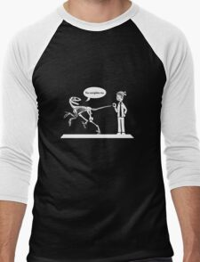 """You Complete Me"" Deinonychus and Paleontologist Toon Men's Baseball ¾ T-Shirt"