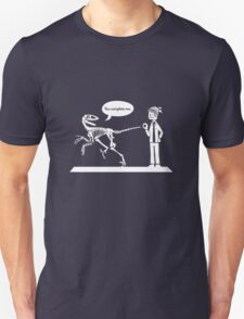 """You Complete Me"" Deinonychus and Paleontologist Toon Unisex T-Shirt"
