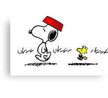 Funny Snoopy And Woodstock Canvas Print