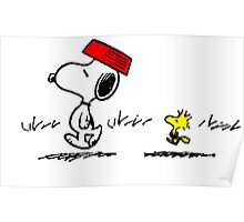 Funny Snoopy And Woodstock Poster