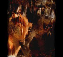 Alpha Male, Wolf Challenge, Battling Wolves by Val  Brackenridge