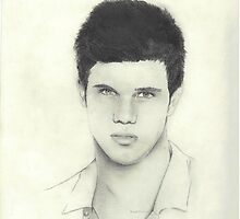 Taylor Lautner Drawing Print by Brandi Peterson