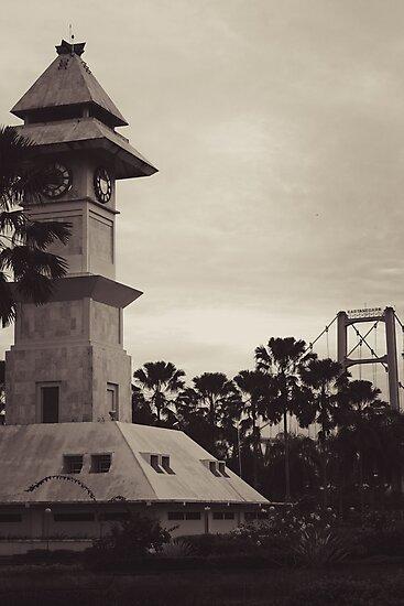 Bentong Clock and Kartanegara Bridge of Tenggarong Kutai Kartanegara East Borneo by PutroGraph