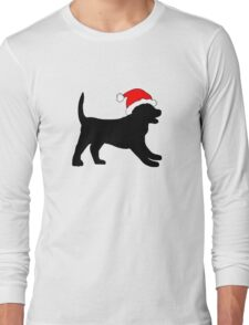 Puppy in a Christmas Hat Long Sleeve T-Shirt