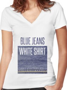 Blue Jeans, White Shirt Women's Fitted V-Neck T-Shirt