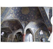 Colonnade of blue domes, Imam Mosque, Esfahan, Iran Poster