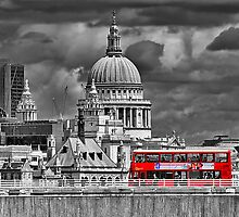 The Red Bus And Saint Pauls Cathederal London by Colin  Williams Photography