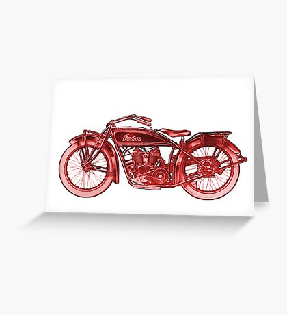 Vintage Indian Scout Motorcycle Print Greeting Card