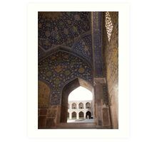 Looking through the arched window, Imam Mosque, Esfahan, Iran Art Print