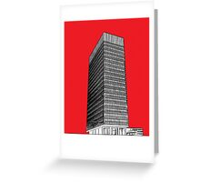 Sheffield University Arts tower - red Greeting Card