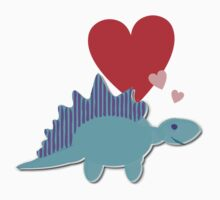Cute Cartoon Dinosaur Blue Stegosaurus Love Hearts T-Shirt by cutecartoondino