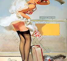 Gil Elvgren - Luggage Accident Pin-Up Girl by TilenHrovatic