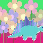 Cute Cartoon Dinosaur Blue Stegosaurus Color Flower Field by cutecartoondino