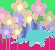 Cute Cartoon Dinosaur Blue Stegosaurus Color Flower Field by cutecartoondino