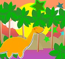 Cute Cartoon Dinosaur Tropical Sunset/ Sunrise by cutecartoondino