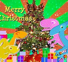 Cute Cartoon Dinosaurs by the Merry Christmas Tree by cutecartoondino