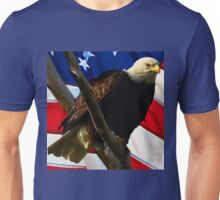 Bald Eagle in Front of The U.S. Flag Unisex T-Shirt