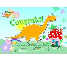 Cute Cartoon Dinosaur Congrats Cut & Paste Craft Photographic Print