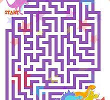Cute Cartoon Dinosaurs Maze Puzzle by cutecartoondino