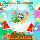 Cute Cartoon Dinosaurs Merry Christmas QR-code Snowglobe by cutecartoondino