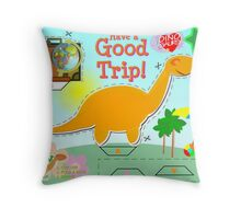 Cute Cartoon Dinosaur Good Trip Holiday Cut & Paste Craft Throw Pillow