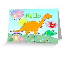 Cute Cartoon Dinosaur Hello Sweet Flowers Cut, Fold & Glue Craft Greeting Card