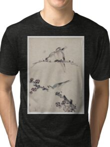 Three birds perched on branches one with blossoms 001 Tri-blend T-Shirt