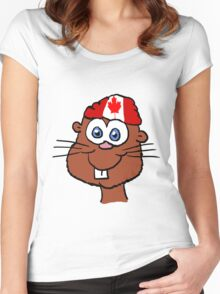 Canada Day Beaver  Women's Fitted Scoop T-Shirt