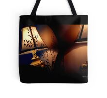 Antique Lamp Reflection In The Mirror Tote Bag