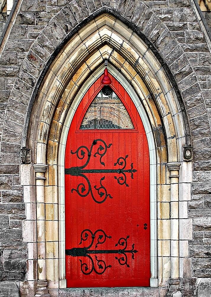 Red Door with Hinges by Ethna Gillespie