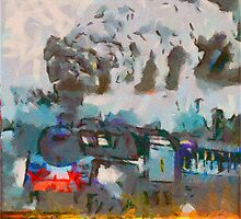 Steam Engine Watercolor by michaelgabriel