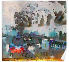 Steam Engine Watercolor Poster