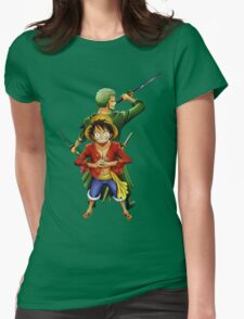 one piece roronoa zoro monkey d luffy anime manga shirt Womens Fitted T-Shirt