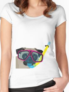 Snorkel Pug, Snorkel Pug! Does whatever a snorkel pug does!!! Women's Fitted Scoop T-Shirt