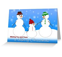 Merry Christmas, Snowman Family  Greeting Card