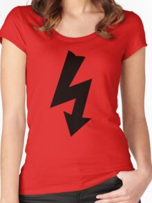 Electrical Warning Symbol Women's Fitted Scoop T-Shirt