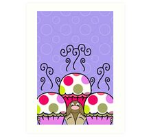 Cute Monster With Pink And Purple Polkadot Cupcakes Art Print