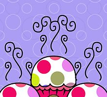 Cute Monster With Pink And Purple Polkadot Cupcakes by mydeas