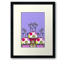 Cute Monster With Pink And Purple Polkadot Cupcakes Framed Print