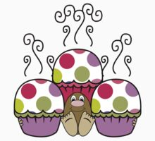 Cute Monster With Pink And Purple Polkadot Cupcakes Kids Clothes