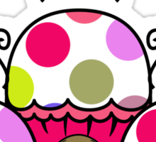Cute Monster With Pink And Purple Polkadot Cupcakes Sticker