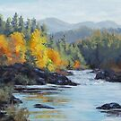 Original Landscape Painting - Autumn Falls by Karen Ilari