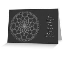 Vivian Mandala Card w/message - white on grey Greeting Card