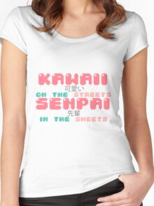 ♡ KAWAII on the streets, SENPAI in the sheets ♡ Women's Fitted Scoop T-Shirt