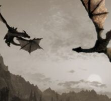 Two dragons flying over the mountain Sticker