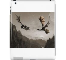 Two dragons flying over the mountain iPad Case/Skin