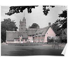 Pink Cottages, Cavendish, Suffolk Poster